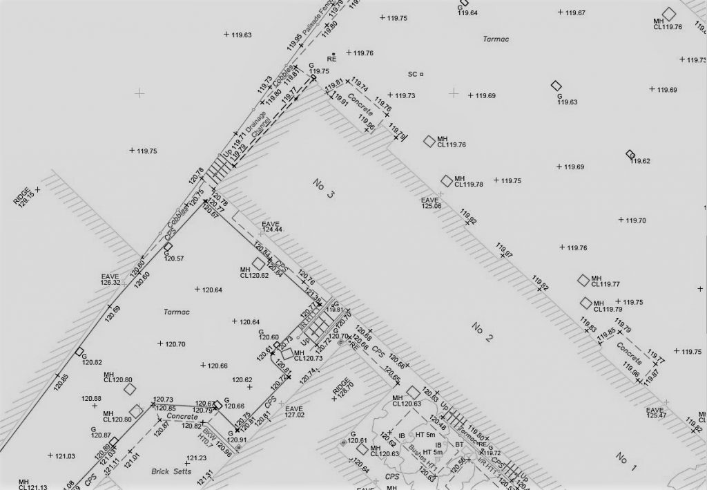 Section of a topographical survey